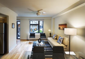 Bedrooms and living rooms have ceiling fans. Energy saving and sustainable features: designed into Via Verde include motion sensors in stairways and corridors to conserve electricity and building-integrated photovoltaic panels to produce electricity from solar energy. Individual apartments feature EnergyStar appliances, energy-efficient lighting, panoramic, high-efficiency windows, natural cross ventilation in all duplex apartments, Low VOC materials improve air quality, super-sealed insulation, and water-conserving fixtures.  Photograph © David Sundberg/ESTO