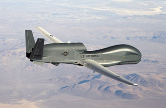 An RQ-4 Global Hawk unmanned aircraft like the one shown, will be used for one of these projects,: NASA's Airborne Tropical Tropopause Experiment (ATTREX), to study upper-atmospheric water vapor, which influences global climate. Photograph taken for the U.S. Air Force by Bobbi Zapka, March 2007, courtesy of Wikipedia.