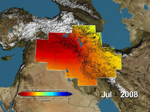 NASA's GRACE Sees Major Water Losses in Middle East: Variations in total water storage from normal, in millimeters, in the Tigris and Euphrates river basins, as measured by NASA's Gravity Recovery and Climate Experiment (GRACE) satellites, from January 2003 through December 2009. Reds represent drier conditions, while blues represent wetter conditions. The majority of the water lost was due to reductions in groundwater caused by human activities. By periodically measuring gravity regionally, GRACE tells scientists how much water storage changes over time. Image credit: NASA/UC Irvine/NCAR