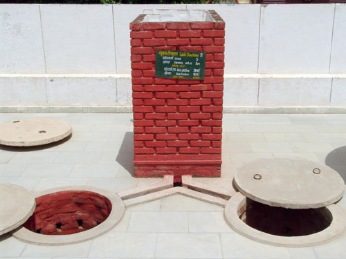 The Sulabh twin-pit, pour-flush, compost toilet - a simple solution to achieve the Millennium Development Goal on Sanitation: In India, the Sulabh Organization has built more than 1.2 million two-pit pour-flush toilets that are eco-friendly, technologically appropriate, socio-culturally acceptable, and affordable.  Photograph courtesy of Dr. Bindeshwar Pathak, Sulabh International Service Organization.
