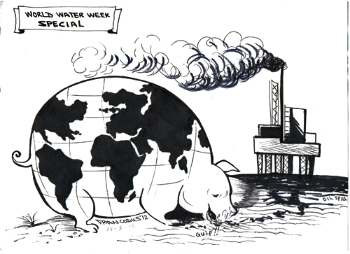 Oil Wise: Cartoon in honor of World Water Week created by and @Francis Odupute