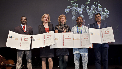 Five of the six World Water Week award winners with their awards, (from left to right),: Alain Tossounon, Francesca de Châtel, Berta Tilmantaite, Francis Odupute,  Ketan Trivedi  2012 WASH Media Awards. 2012 World Water Week. Photo credits: Mikael Ullén.