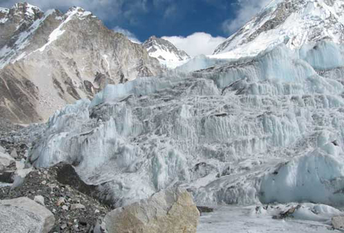 The icefall of Khumbu glacier, in the Nepali Himalayas…: It is …considered one of the most dangerous spots on the South Col route to Mt. Everest's summit. Credit: NASA/GSFC/Kimberly Casey.
