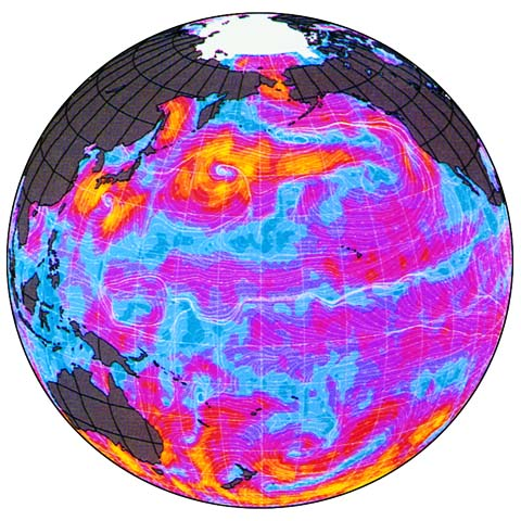 Ocean surface circulation and winds, including in the Western tropical Pacific.: Photograph from NASA courtesy of NSF.