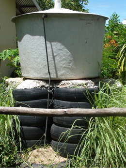 Water cisterns installed in local villages and schools.: Photograph courtesy of UNEP from the Report.