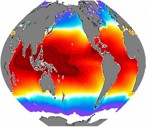 "An enormous mass of water in the Western tropical Pacific, the ""warm pool,"" is shown in orange-red.: Photograph by IRD, France courtesy of NSF."