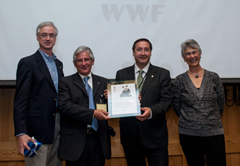 Mauricio Pulido Cazorro, Catalan artisanal fisherman, and Josep Maria Pelegri Aixut, Catalan Fisheries Minister: receive the WWF Award for Conservation Merit from Jim Leape, WWF International Director General, and Yolanda Kakabadse, WWF International President. Photograph courtesy of WWf © WWF-Canon / Richard Stonehouse