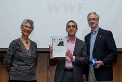 Dr Sergi Tudela, Head of Fisheries at WWF Mediterranean,: receives the WWF Award for Conservation Merit: from Jim Leape, WWF International Director General, and Yolanda Kakabadse, WWF International President. © WWF-Canon / Richard Stonehouse