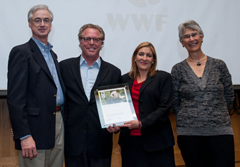 Bea Perez and Jeff Seabright of The Coca-Cola Company receive the WWF Gold Panda Award: from Jim Leape, WWF International Director General, and Yolanda Kakabadse, WWF International President. © WWF-Canon / Richard Stonehouse