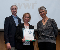 Ginette Hemley of WWF-US receives the WWF Staff Award for Outstanding Achievement from Jim Leape: WWF International Director General, and Yolanda Kakabadse, WWF International President. © WWF-Canon / Richard Stonehouse