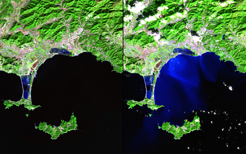 """In mid-January 2014, unusually heavy rain in southeast France led to flooding, landslides and: evacuations. Up to 20 centimeters (8 inches) of rain fell over three days, far exceeding the typical monthly totals. These images show the area around Hyères, along with the Giens Peninsula and nearby islands. The bright blue colors in the right-hand image show the flow of sediment-rich floodwaters into the Mediterranean Sea. Images taken by the Operational Land Imager onboard Landsat 8. Source: U.S. Geological Survey (USGS) Landsat Missions Gallery""""Effects of Flooding: Hyères, France,"""" U.S. Department of the Interior / USGS and NASA."""
