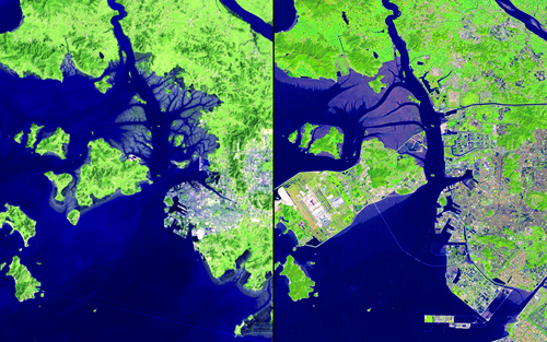 """The shoreline area of Incheon, South Korea, has changed dramatically over the past 32 years.: Marsh areas have been turned into usable land and urban development has expanded. Islands have been connected to accommodate Incheon International Airport, which opened in 2001 and is now one of the largest and busiest in the world. The new Incheon Bridge (also called the Incheon Grand Bridge), which opened in October 2009, is visible in the 2013 image. Images taken by the Multispectral Scanner onboard Landsat 2 and the Operational Land Imager onboard Landsat 8. Source: U.S. Geological Survey (USGS) Landsat Missions Gallery """"32 Years of Change: Incheon, South Korea,"""" U.S. Department of the Interior / USGS and NASA."""