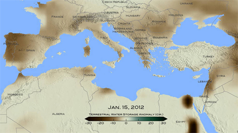Drought in Eastern Mediterranean: For January 2012, brown shades show the decrease in water storage from the 2002-2015 average in the Mediterranean region. Units in centimeters. The data is from the Gravity Recovery and Climate Experiment, or GRACE, satellites, a joint mission of NASA and the German space agency.
