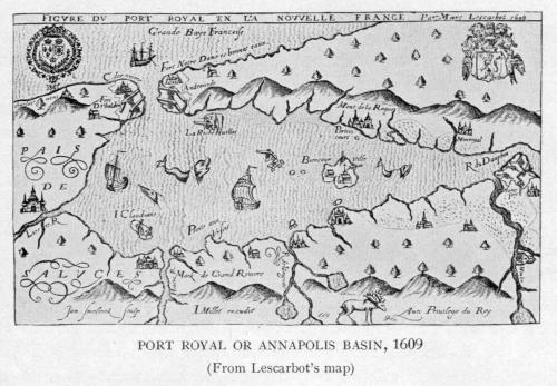 Champlain's map of 1609 showing the river's French name of Rivière du Dauphin.: Port Royal, Nova Scotia - circa 1609 - Project Gutenberg etext 20110. Image courtesy of Wikipedia.