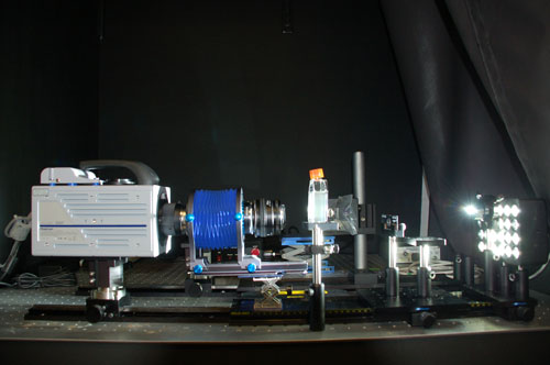 The vertical optical system that magnifies and records freely swimming microorganisms.: Photograph by Alison Satake, WHOI courtesy of NSF