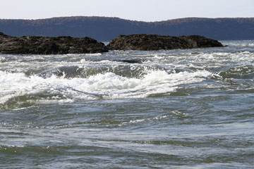 The amazing Churning water at Black Rock on the Bay of Fundy – this spring tide reached 45 feet: and featured currents of 5 metros per second.  Photograph by David Dodge, Green Energy Futures, Fundy Ocean Research Centre & Bay of Fundy